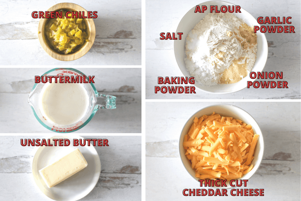Butter Swimming Green Chile Cheddar Biscuits Ingredient Photos