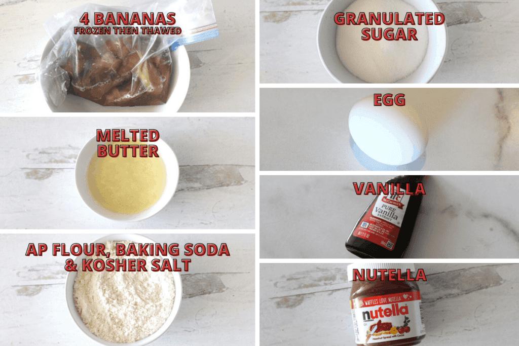 Food Processor Banana Nutella Bread Ingredients Photo