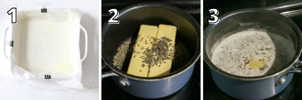 Lemon Lavender Cookie Bars. Step 1: a square white baking pan lined with parchment paper and 3 small binder clipped on the top, left and bottom. Step 2: 2 sticks of butter in a small sauce pan topped with lavender bulbs. Step 3: melted butter in a small saucepan with lavender bulbs simmering