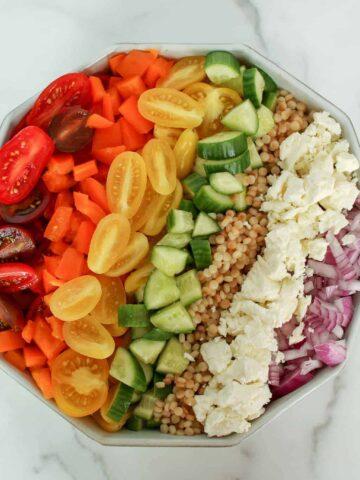 Overhead Rainbow Couscous Salad