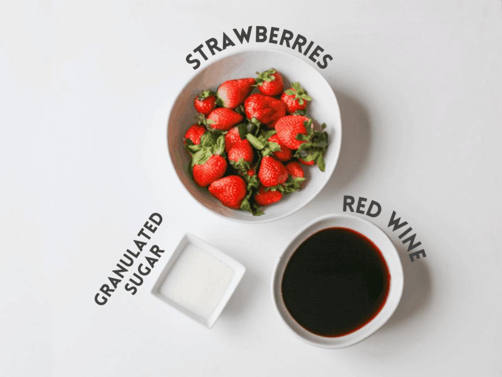 Strawberry Red Wine Sauce Ingredients Photo