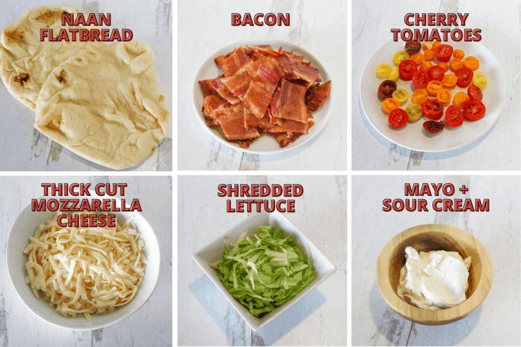 BLT Naan Flatbread Ingredients Photos