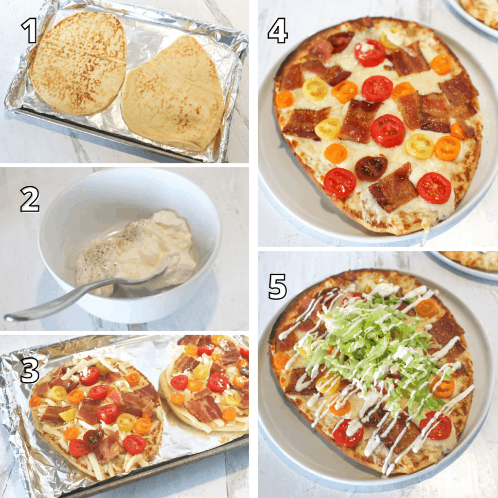 BLT Naan Flatbread Process Step by Step Photos