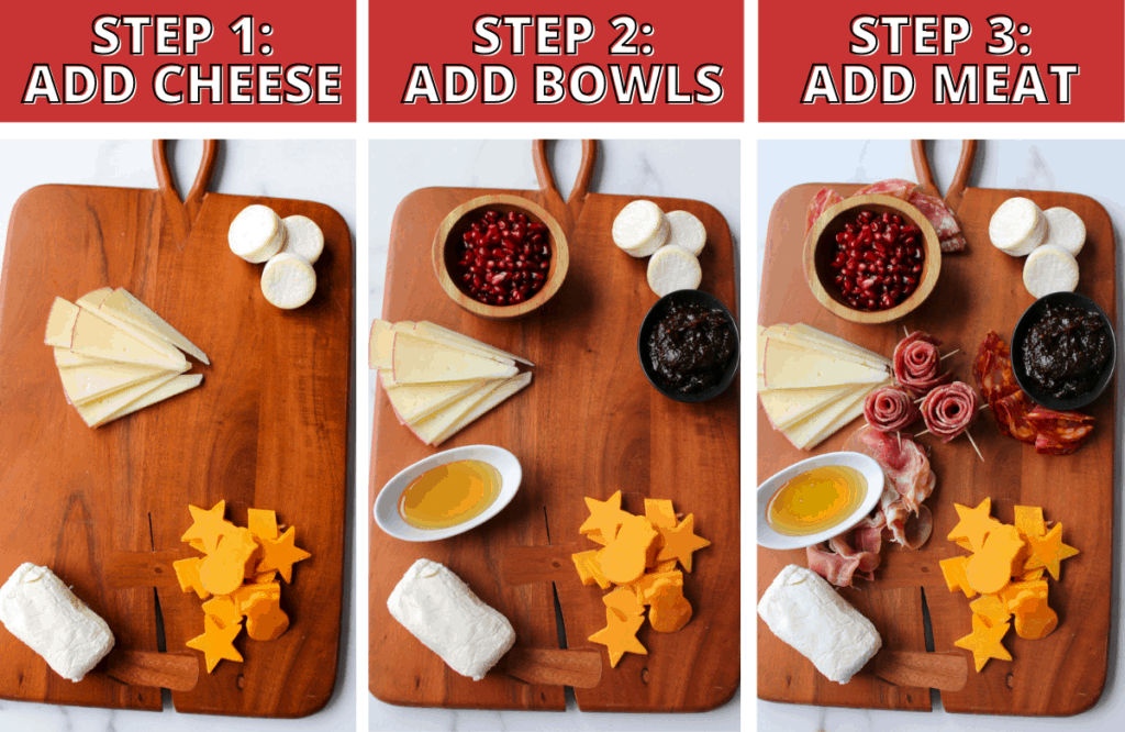 Trader Joe's Winter Cheese & Charcuterie Board Steps 1-3