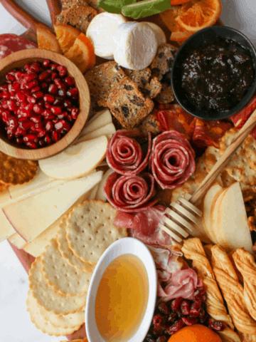Angle overhead of Trader Joe's Winter Cheese & Charcuterie Board