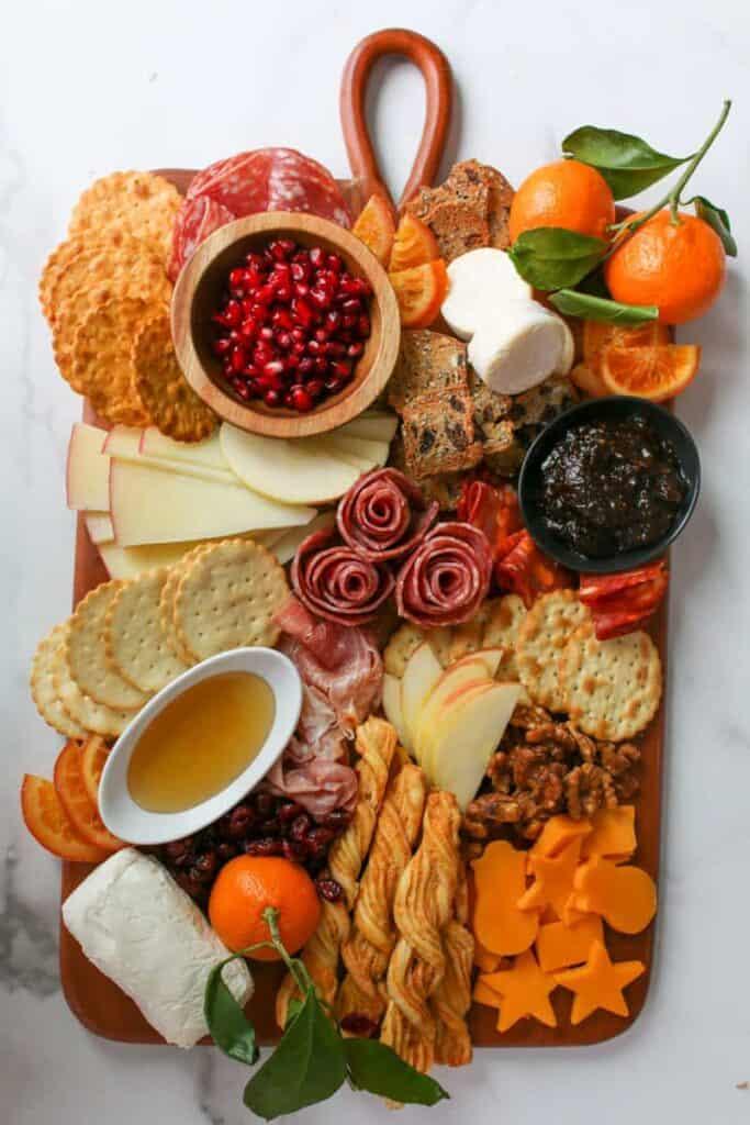 the whole Trader Joe's Winter Cheese & Charcuterie Board overhead photo