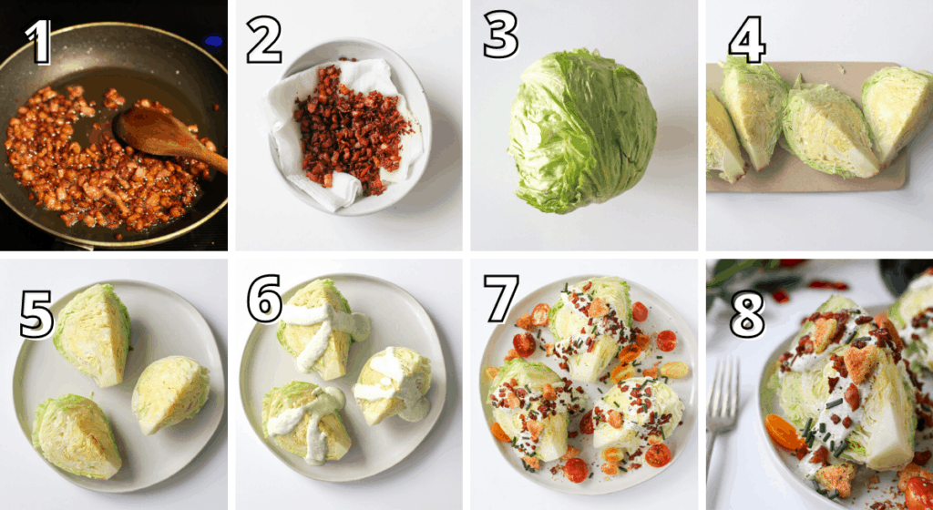 BLT Wedge Salad with Heart Croutons Step by Step Process Photos