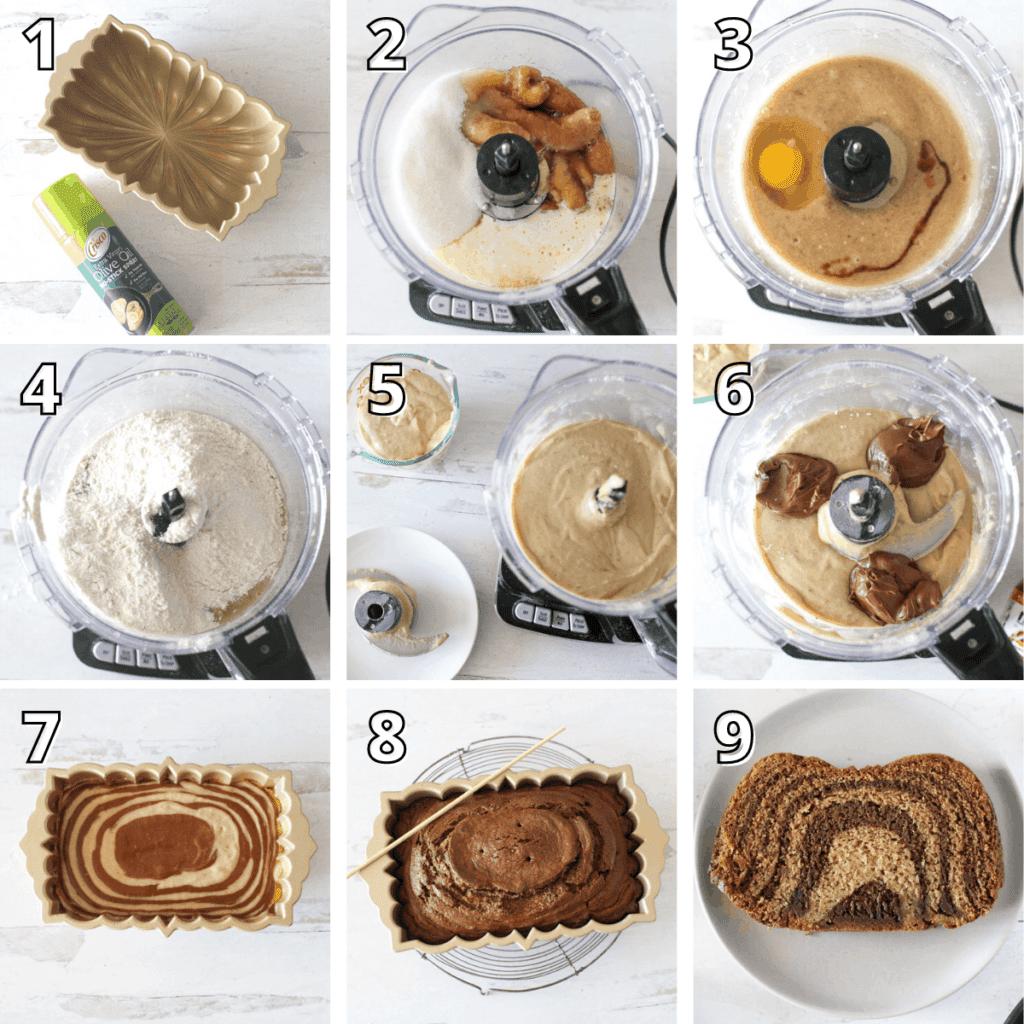 Food Processor Banana Nutella Bread Step-by-Step Process Photos