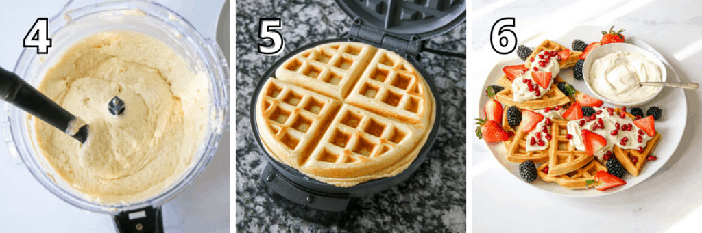 Ricotta Waffles steps 4-6, stpes 4 has the food processor body with the batter made with a silicone spatula sticked out of it, step 5 has a golden waffle in a waffle maker with the top lifted on a dark grey background and step 6 shows a large white platter with waffles cut into ¼ with dollops of mascarpone cream and fresh fruit on top with a small bowl of mascarpone to the right on a marble background