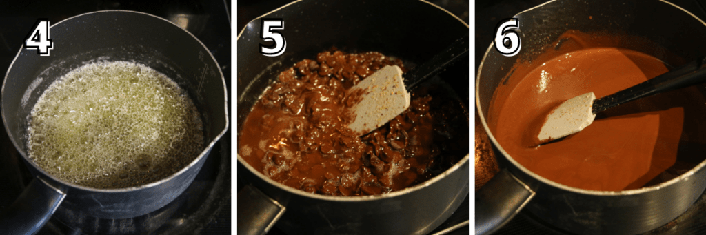 Step 4: butter is bubbling in a saucepan, step 5 chocolate chips is added to melted butter, its slightly melted, step 6: chocolate chips are fully melted with brown butter