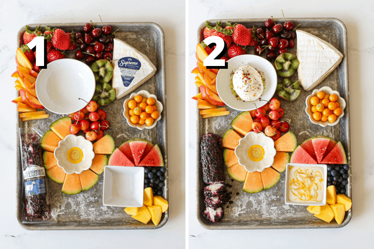 """2 side by side photos. Photo 1: has a """"1"""" with white text and offset black background. Fruit, the brie and goat cheese along with small bowls are on a sheet pan. At the top left are whole strawberries, dark red cherries, sliced nectarines and a kiwi cut into a zig zag. In the middle are rainer cherries, goose berries in a small white flower bowl and cantaloupe sliced with rind attached surrounding another small flower bowl. Finally in the bottom right are wedges of mini watermelon, blueberries and sliced mango pieces. Brie is still wrapped in packaging in the upper right of the board and the blueberry vanilla goat cheese in the bottom left of the board. Picture 2 has has a """"2"""" with white text and offset black background. The photo is the same as the previous except burrata is placed in a small white circle bowl in the upper left with olive oil, salt, pepper and chili lake. In the bottom right is a square white bowl with the honey feta dip with a swirl of honey and lemon zest on top."""