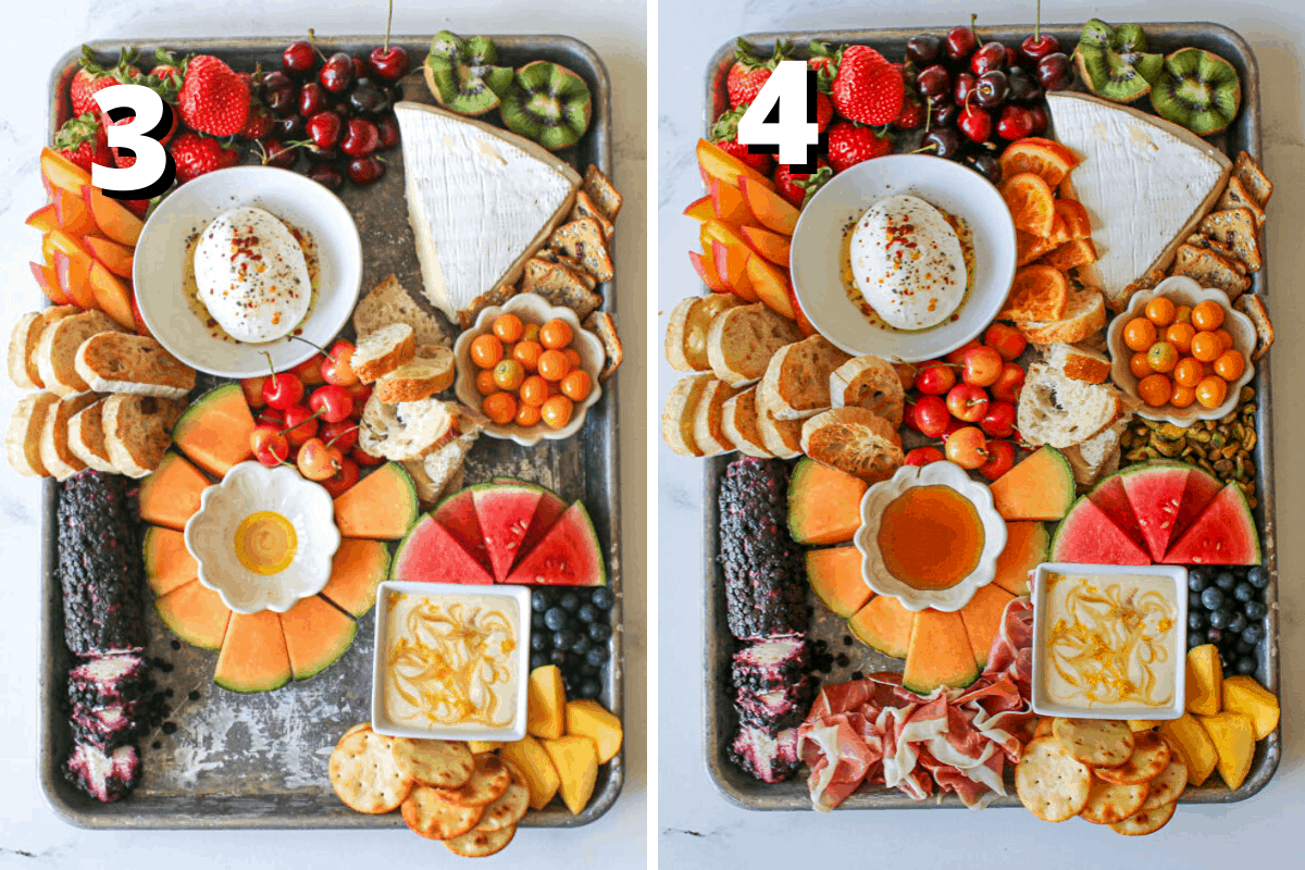 """Side by side pictures. First pictures has a """"3"""" in white text with offset black background. It is the same content as the previous pictured except in now includes crackers and sliced bread. In the middle left are slices of toasted ciabatta. To the center is slices of french bread. to the upper right corner are rosemary fig crackers and at the bottom middle are pita crackers. The right pictures has a """"4"""" in white text with a black offset background. It is the same as the previous picture but now includes all the extras. In between the burrata and brie are slices of candied oranges cut in half. In between the gooseberries are watermelon are pistachio. In the middle of the cantaloupe slices, is the small flower bowl that has honey in it. Finally, at the bottom middle in between the goat cheese and pita crackers and a layer of prosciutto slices."""