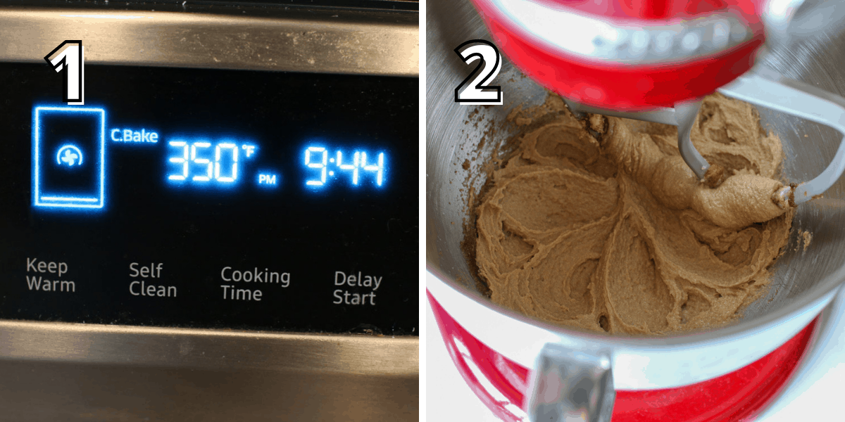 Side by side photos with a number in the upper left corner with the number in white text with a black offset outline. The left photo says '1' with an oven showing its been set at 350 degrees Fahrenheit. The right photo says '2' and shows a red stand mixer with a beater attachment with the butter and sugar being creamed together.