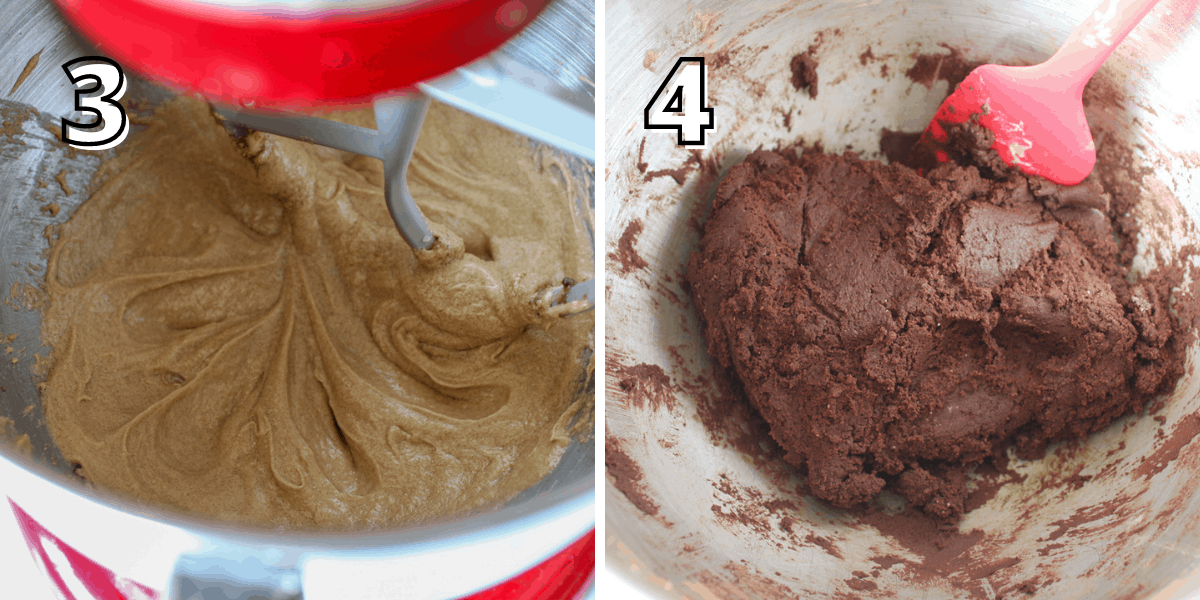 Side by side photos with a number in the upper left corner with the number in white text with a black offset outline. The left photo says '3' shows a red stand mixer with a beater attachment with the eggs and vanilla being beaten into the  butter and sugar mixture . The right photo says '4' and shows the mixing bowl with the chocolate cookie dough combined with a red silicone spatula.
