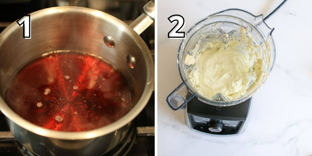 Step by step photos with a number in the upper left corner in a block white font with a black outline. In the left photo with a '1' shows a sauce pot on the oven with a red liquid simmering. The right photo shows a blender with the top removed with white mixture blended