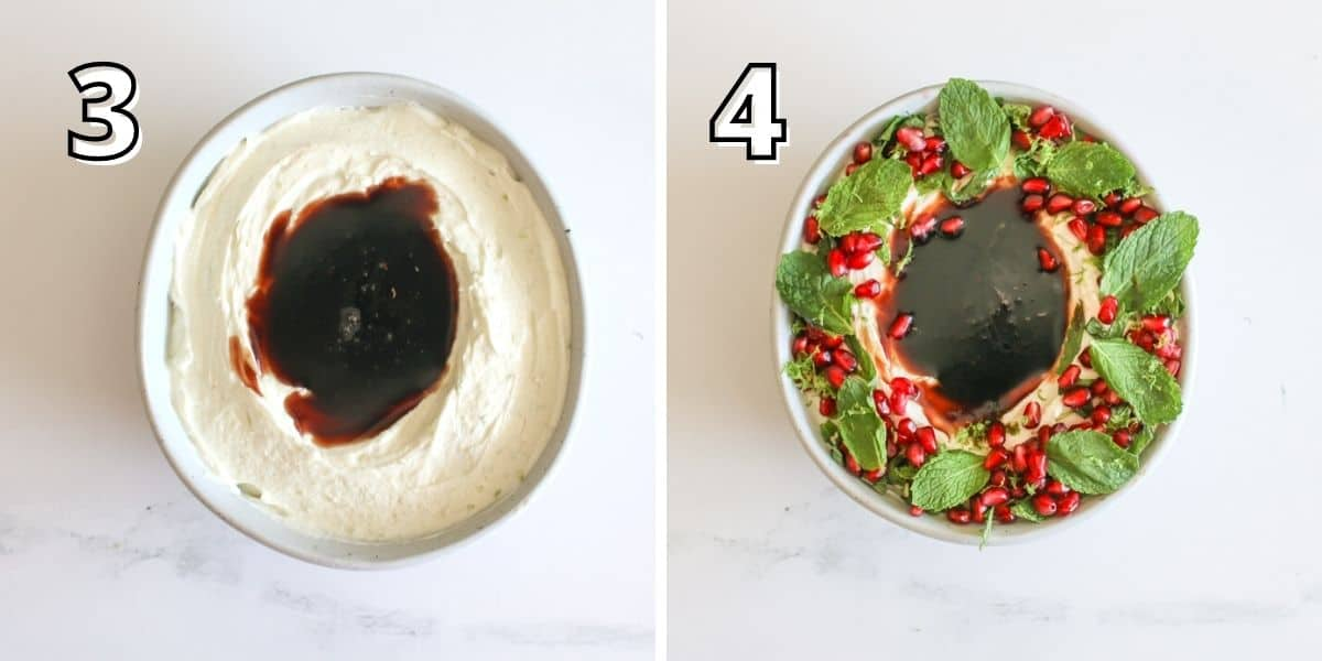 Step by step photos with a number in the upper left corner in a block white font with a black outline. In the left photo with a '3' with a lime goat cheese mixture in a bowl with a well in the center that has pomegranate syrup. The right '4' shows the the same dish in step 3 but garnished with mint, lime zest and pomegranate seeds.